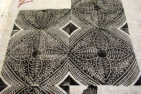 Block Printing on Fabric Workshop with April Sproule.