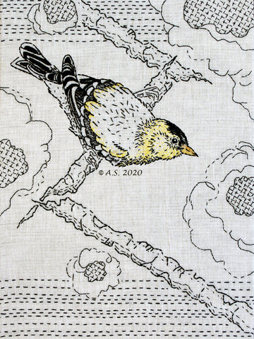 Goldfinch hand embroidery pattern by April Sproule of Sproule Studios.