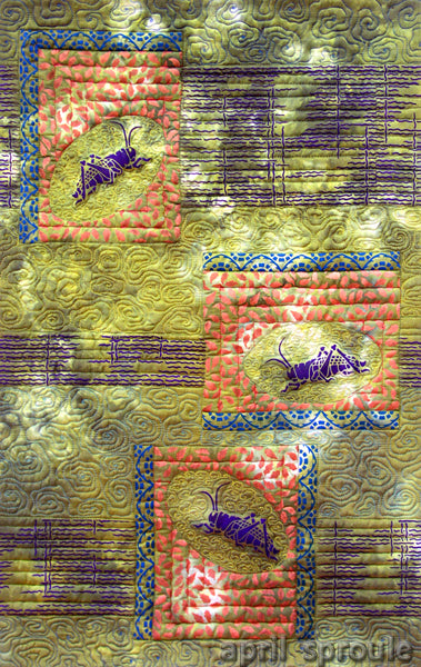 Grasshopper Moon textile art by April Sproule.