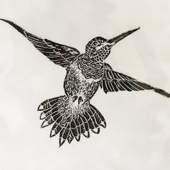 Hummingbird hand printed by April Sproule