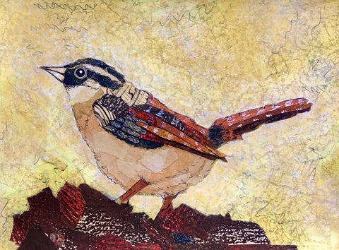 My Wren Friend torn paper collage by April Sproule