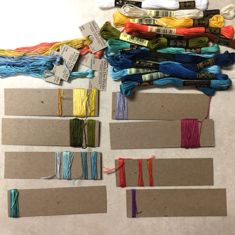 Embroidery threads organized by April Sproule