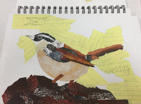 Carolina Wren torn paper collage by April Sproule
