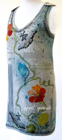 Natural Linen Yardage: Hand painted and embroidered tunic by April Sproule.