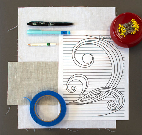 Marking hand embroidery projects tutorial by April Sproule.