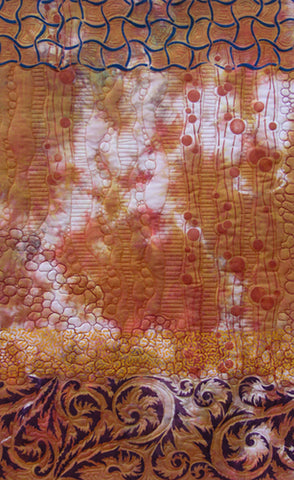 Hand dyed and stenciled textile art by April Sproule.