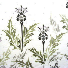 Sproule Studios Thistle Stencil used to paint background fabric.