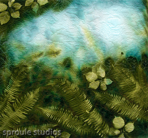 Hand painted silk mixed media textile art by April Sproule.