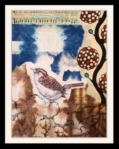 Blue Sky Wren Mixed Media illustration, April Sproule