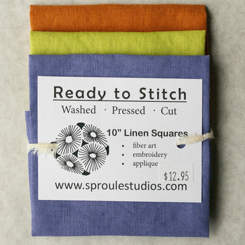 Prewashed linen squares from Sproule Studios for collage, textile arts, mixed media.