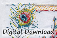 Load image into Gallery viewer, The Feathers Embroidery pattern is designed by April Sproule.