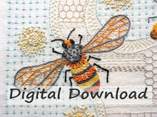 Load image into Gallery viewer, This is the Bees Hand Embroidery Pattern by April Sproule.