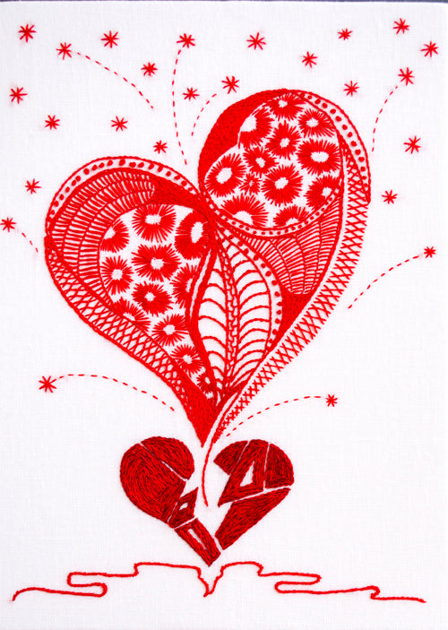 Hearts Broken open hand embroidery pattern from Sproule Studios.