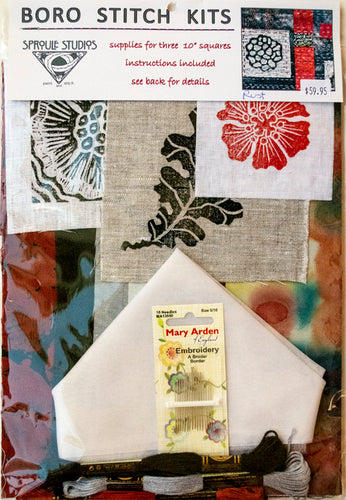 Boro Stitch Kit from Sproule Studios has supplies for three ten inch square embroidery projects.
