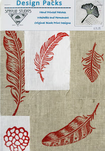 Hand block printed patches on linen by April Sproule for hand embroidery, collage, media projects.