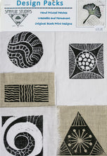 Load image into Gallery viewer, Hand block printed patches on linen by April Sproule for hand embroidery, collage, media projects.