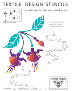 Sproule Studios Fuchsia Stencil for painting mixed media, textiles, and home decor. and