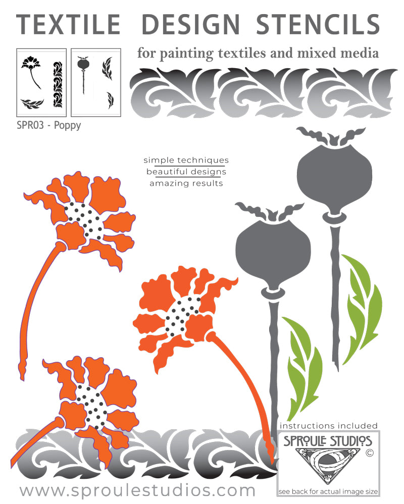 The Poppy Stencil can be used to create an unlimited number of designs by arranging the parts in different ways.