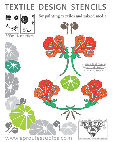 Nasturtium Stencil by Sproule Studios for fiber arts and mixed media projects.