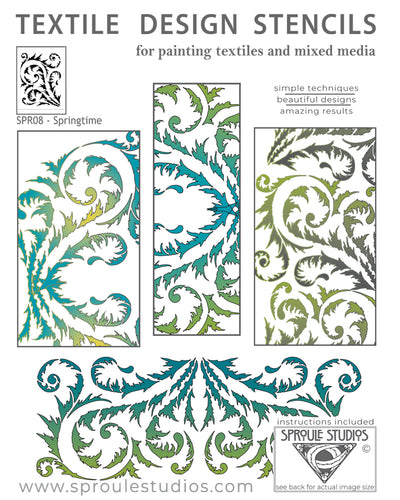 The Springtime Stencil is a series of graceful curves and swirls for painting fabric and mixed media.