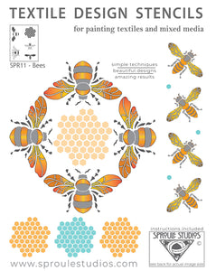 The Bee STencil from Sproule Studios includes a honey bee, bumble bee, and a honeycomb.