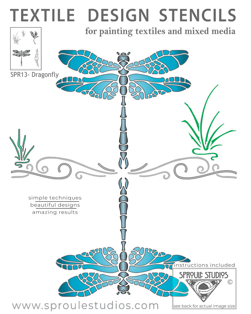 The Dragonfly Stencil was created by April Sproule for painting fabrics and mixed media projects.