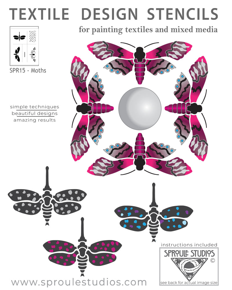 The moth Stencil by April Sproule offers lots of options for painting interesting designs.
