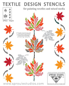 The Maple Stencil from Sproule Studios for mixed media textile arts.
