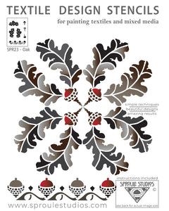 The Oak Stencil from Sproule Studios can be used in multiple layouts for mixed media textile arts.