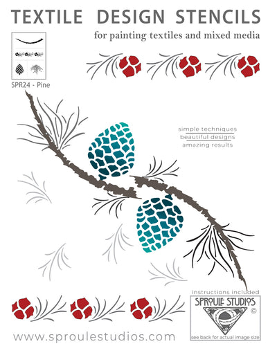 The Pine Stencil from Sproule Studios is for painting mixed media textile arts.