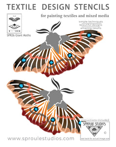 The Giant Moth Stencil fro Sproule Studios is used for painting textile arts mixed media projects.