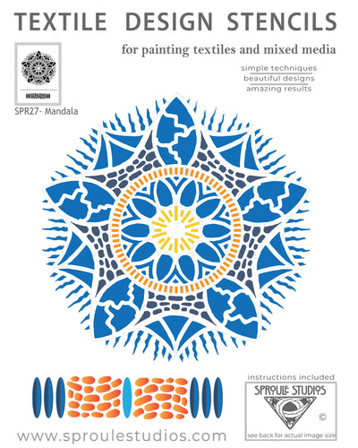 The Mandala Stencil from Sproule Studios is perfect for painting fiber arts and mixed media projects.