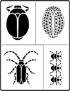 Mixed media Beetles Stencil by April Sproule has three different types of beetles.