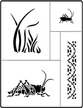 Load image into Gallery viewer, This Grasshopper Stencil by April Sproule is great for painting on art projects for children.