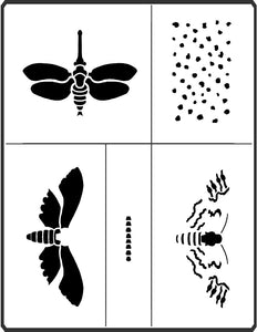 The Moth Stencil offered by Sproule Studios presents lots of options for variety in mixed media applications.