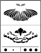 Load image into Gallery viewer, This Moth Stencil is designed by April Sproule for use on fiber arts and mixed media projects.