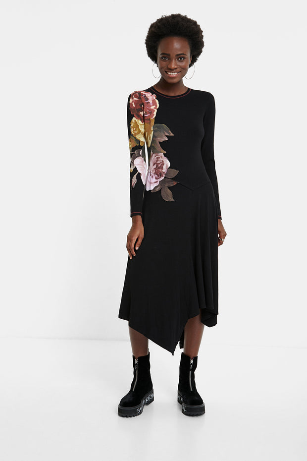 Asymmetric Floral Knit Dress