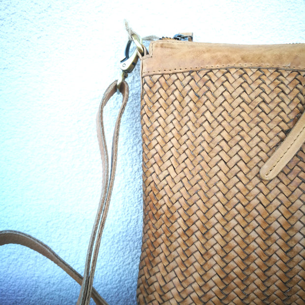 Leather Weave Shoulder Bag Sml