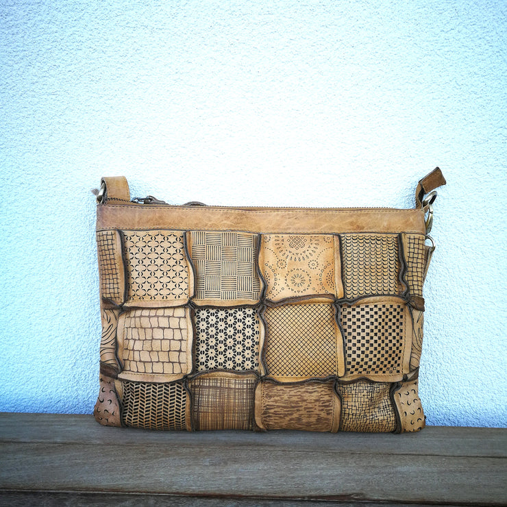 Leather Quilted Handbag Tobbaco