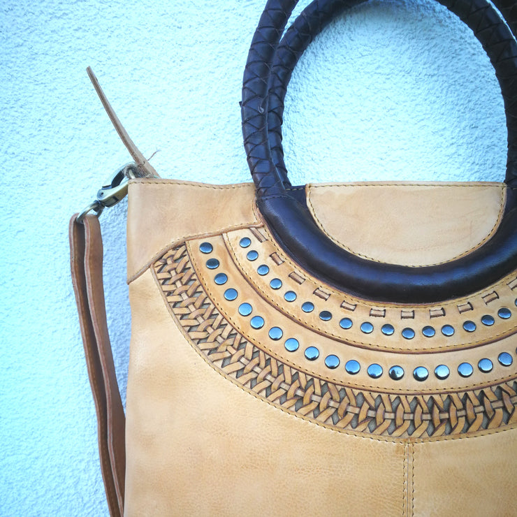 Leather  Loop Handle Bag