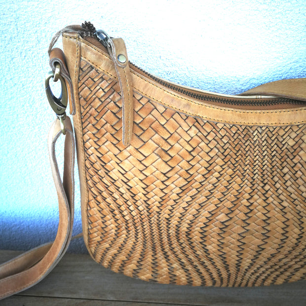 Leather Weave Saddle Shoulder Bag