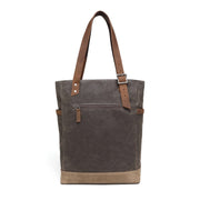 Wax Canvas Tote Bag with leather handle