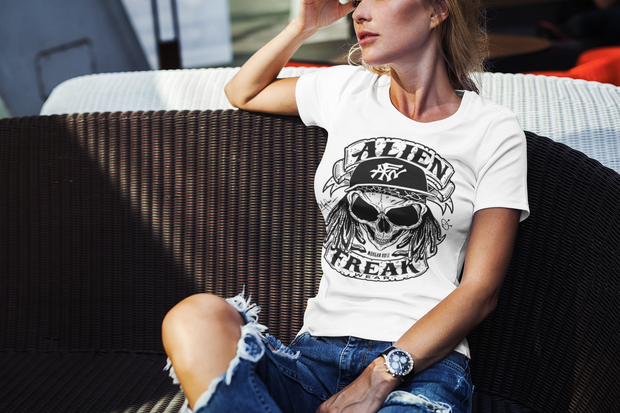 ALIEN FREAK WEAR Skull Ladies White T-Shirt