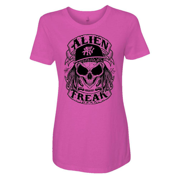 ALIEN FREAK WEAR Skull Ladies Pink T-Shirt