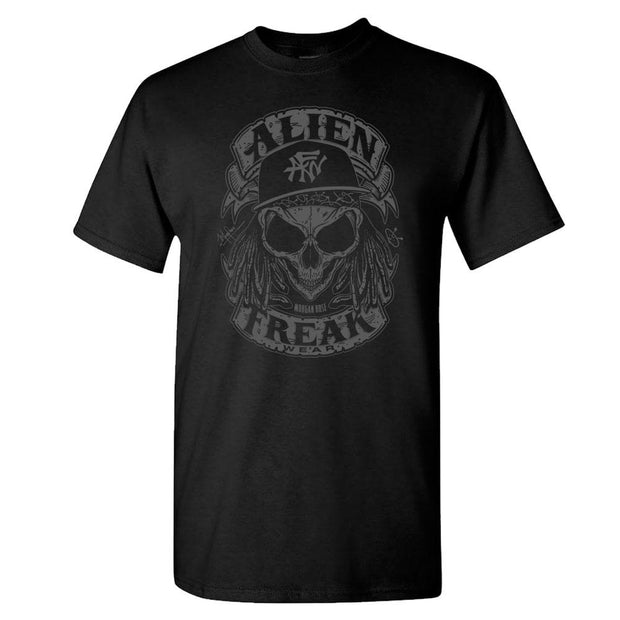 ALIEN FREAK WEAR Grey Skull Black T-Shirt