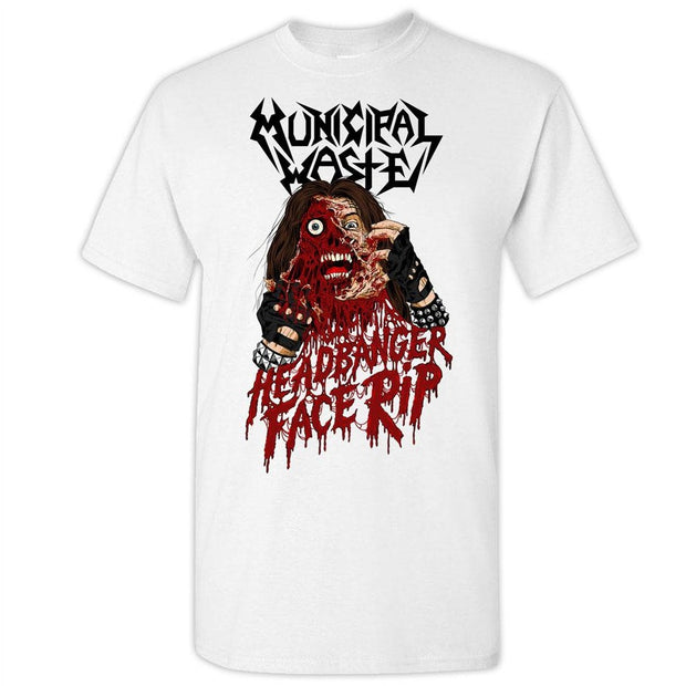 MUNICIPAL WASTE Headbanger Face Rip White T-Shirt