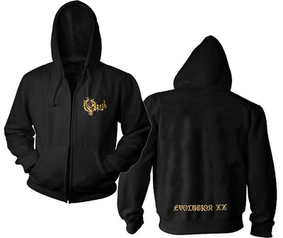 OPETH Embroidered Gold Logo Evolution Zip Hoodie