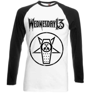 WEDNESDAY 13 Casket Baseball Long Sleeve T-Shirt