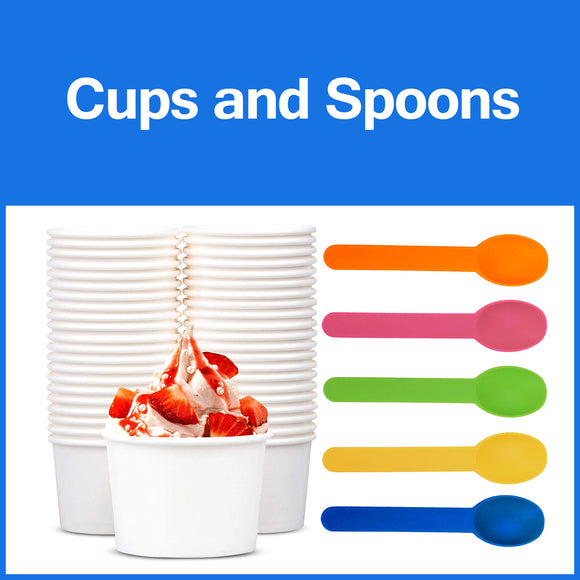 Ice Cream Cups, Spoons, Bubble Tea Cups, Bubble Tea Straws