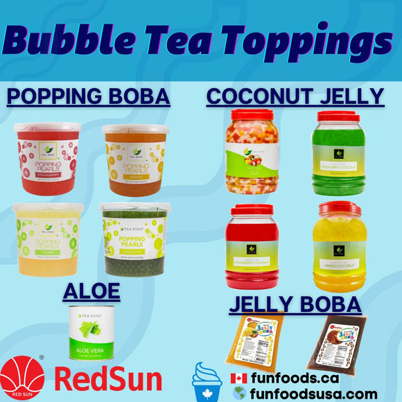 Bubble Tea Toppings Popping Boba Tapioca Pearls Boba Jelly Aloe and more